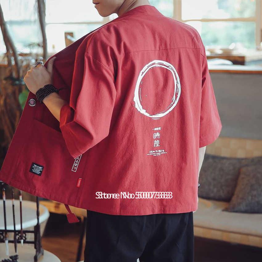Gaya Jepang Kimono Cardigan Yukata Pria Samurai Kostum Harajuku Haori Pakaian Fashion Streetwear Hip Hop Jaket Plus