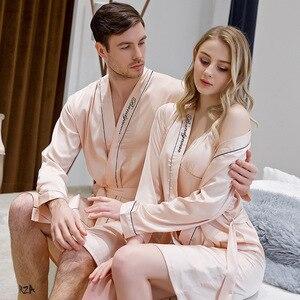 Image 2 - Simulation de Couples en soie brodée, robe de nuit pour hommes et femmes, nouvelle mariée demoiselle dhonneur, veilleuse, printemps et été
