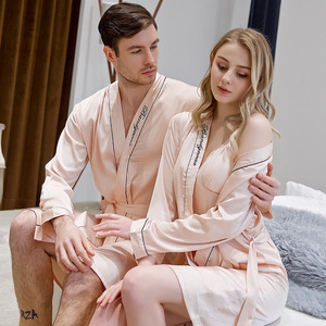 Image 2 - Spring and Summer Newest Simulation Silk Couples Nightgown Men and Women Embroidered Morning Bride Bridesmaid Nightrobe
