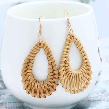 Korean Earrings 2019 Bamboo Wooden Geometric Drop Earrings For Women Hollow Long Dangle Earring Beach Jewelry Party Gift Brincos - DISCOUNT ITEM  45% OFF All Category