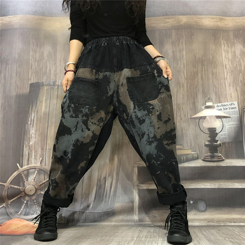 Autumn New Arts Style Women Elastic Waist Loose Casual Jeans Splice Vintage Print Cotton Denim Harem Pants Female Jeans S264