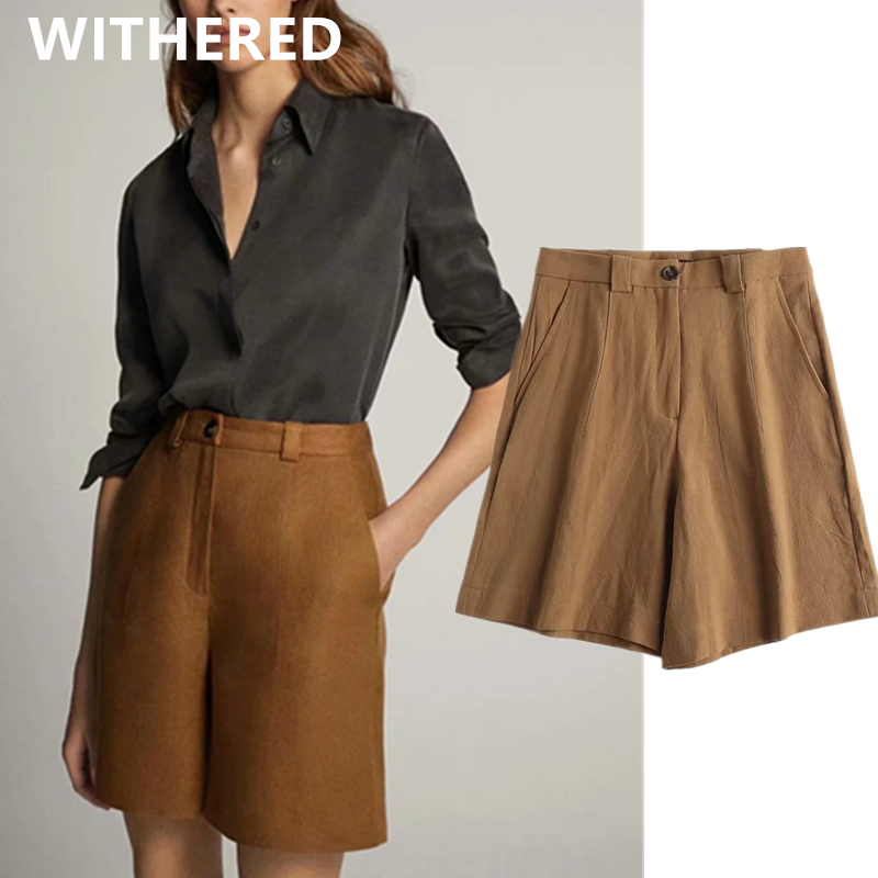 Withered 2020 Summer England Style Office Lady Vintage Linen Loose Shorts Women Short Feminino Plus Size Women Short Bermuda
