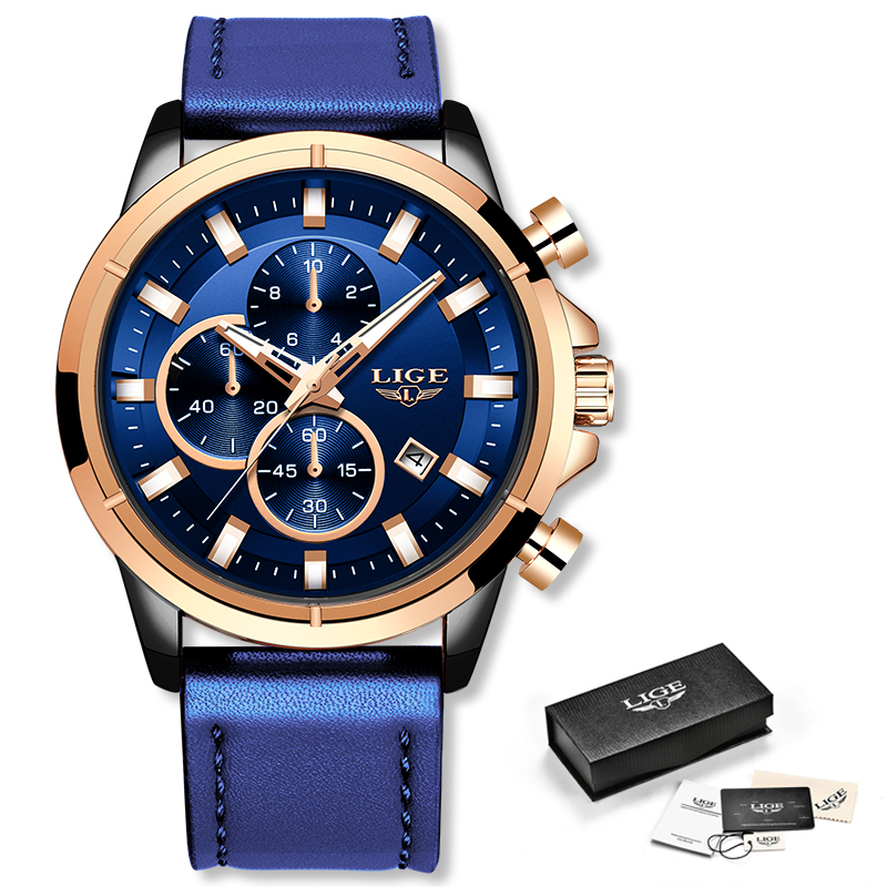 LIGE Casual Sports Watches For Men Blue Top Brand Luxury Military Leather Wrist Watch Man Clock LIGE Casual Sports Watches For Men Blue Top Brand Luxury Military Leather Wrist Watch Man Clock Fashion Chronograph Wristwatch