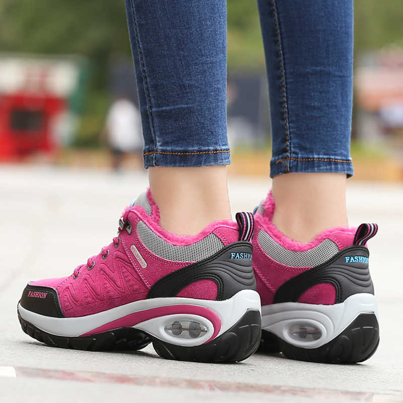 Kadın kış yürüyüş botları açık sıcak tutmak hava yastığı kaymaz bayanlar çizmeler kaymaz kar botları spor yürüyüş ayakkabısı kadın