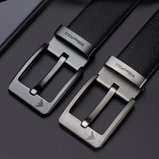 WilliamPolo Cowskin leather luxury strap male belts for men new fashion classice vintage pin buckle men belt High Quality 4