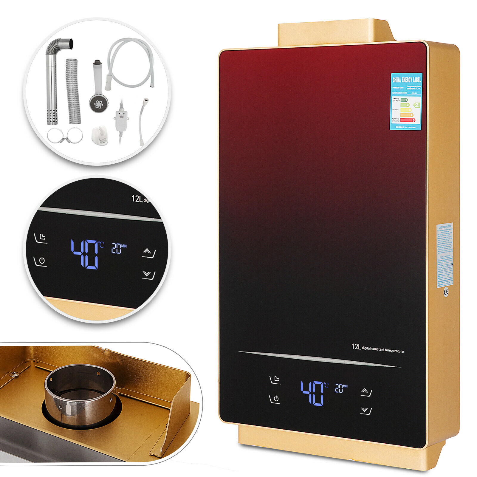 12L LPG Tankless Water Heater Touch Screen On Demand Indoor LED Display Instant Hot Water Heater with Shower Head Kit Gas Water Heater Parts     - title=