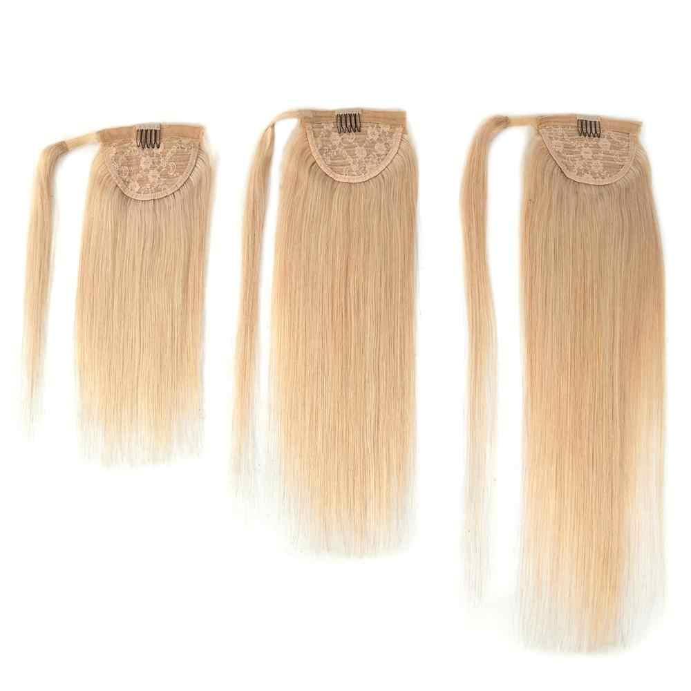 """Neitsi proste włosy ludzkie kucyk 100% naturalne maszyny wykonane Remy klip w prawdziwe koński ogon przedłużanie włosów 12 """"16"""" 20"""""""