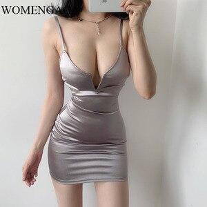 2020 lato europa stany seksowny klub nocny duży dekolt w serek jednolity kolor najniższy pasek sukienka koktailowa seksowna szczupła Mini dziewczyna kobieta E311