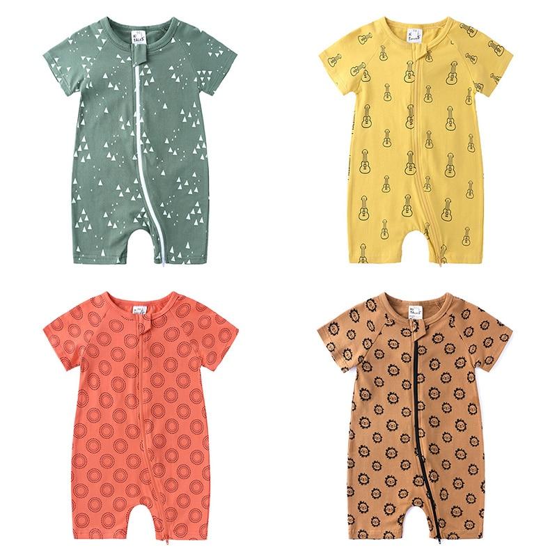 Zipper Short Seelve Baby Girls Rompers Unisex Cotton Cartoon Baby Clothes Summer Newborn Romper Toddler Costume 3-24 Months