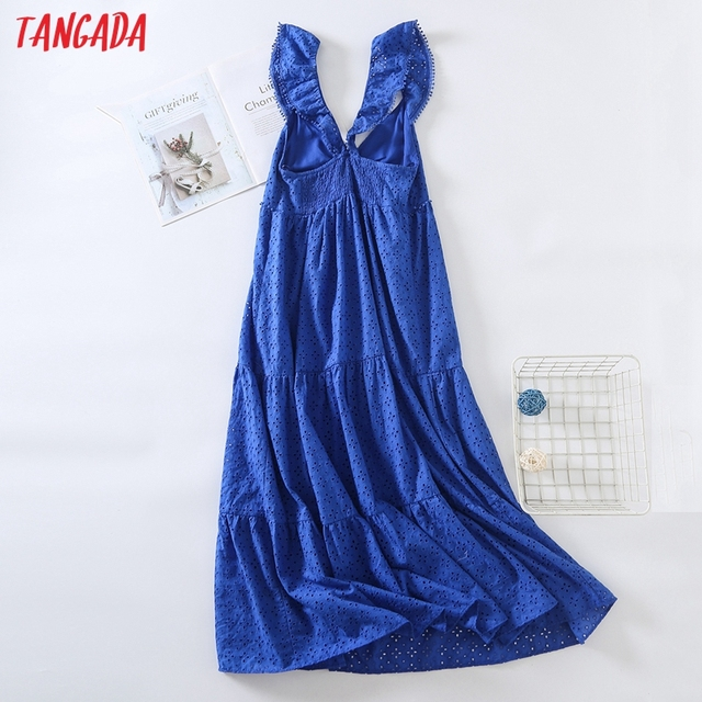 Tangada Women Blue Embroidery Romantic Midi Dress Strap Ruffles Sleeveless 2021 Fashion Lady Elegant Dresses Vestido 6H19 5