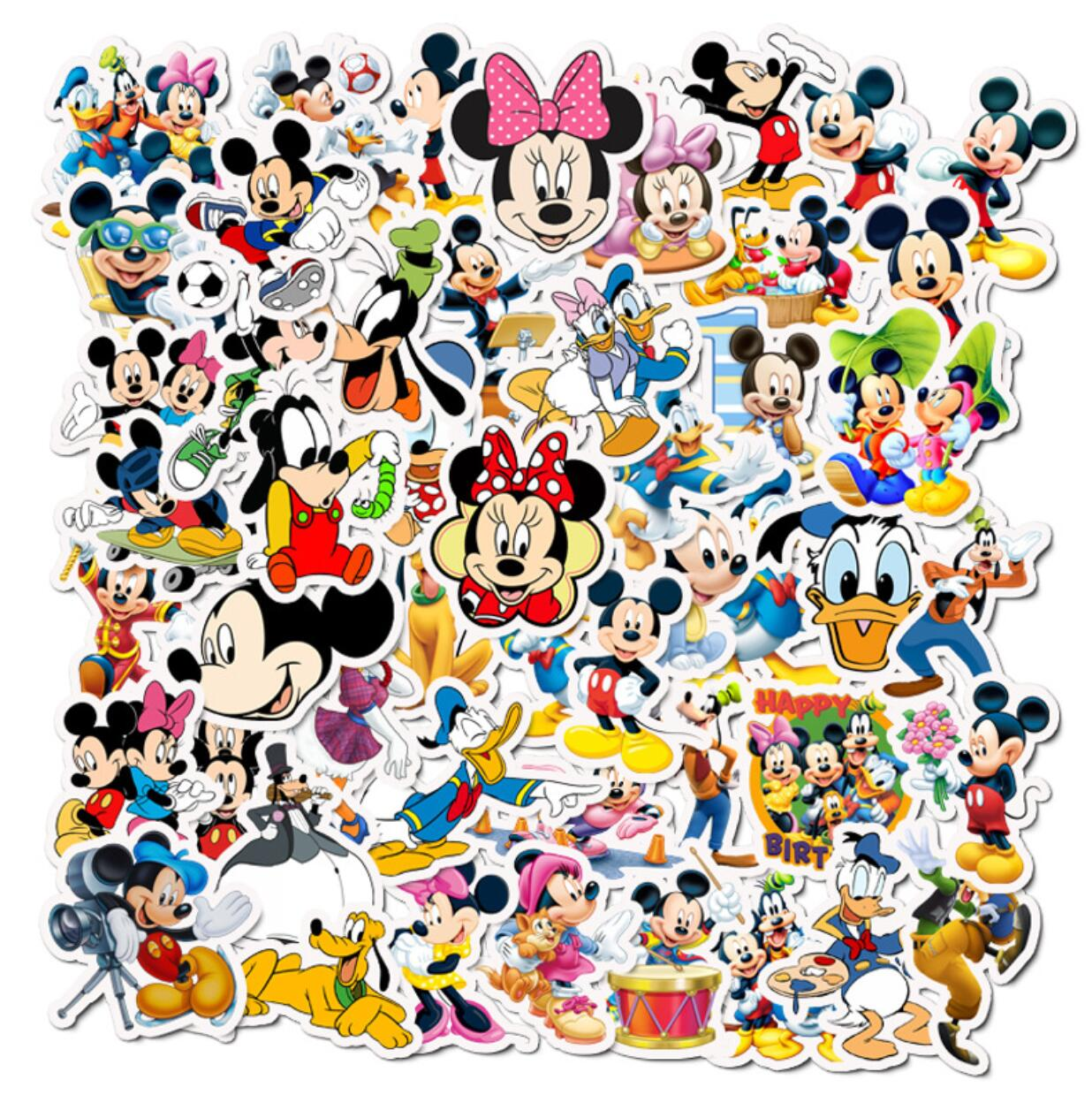 50 Pcs Mickey Mouse Disney Stickers Albums Graffiti Laptop Skateboard Luggage Guitar Bicycle Children DIY Decal Sticker