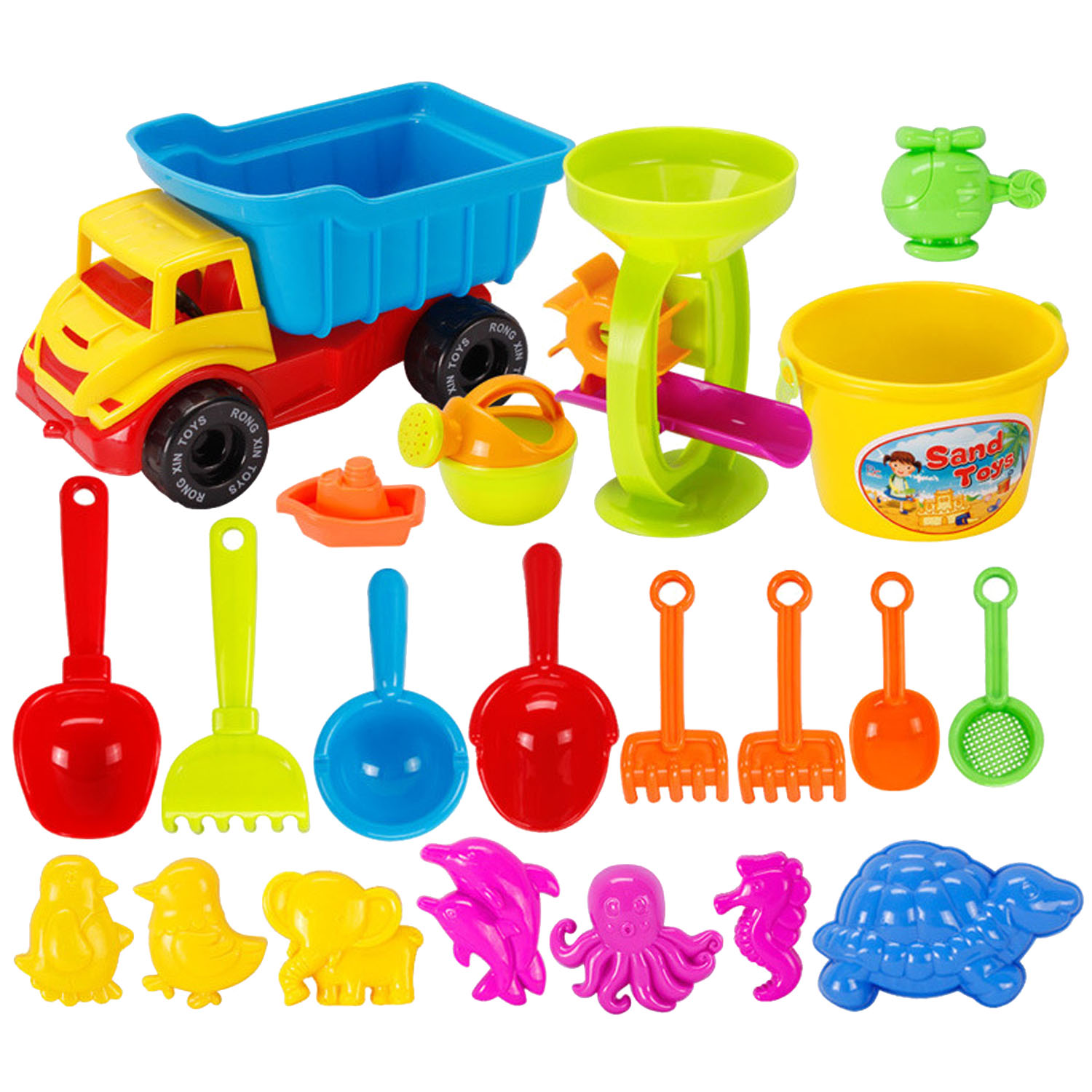 21PCS Funny Kids Beach Sand Game Toy Set Including Shovels Rakes Truck Hourglass Pretend Playset Toy Kit Children Sand Beach Toy