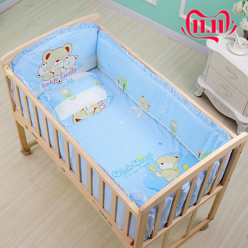 6Pcs 120*65cm Cotton Baby Crib Bedding Sets With Bumper Mattress Cushion Pillow Baby Items Baby Bassinet Mattress Baby Crib Set