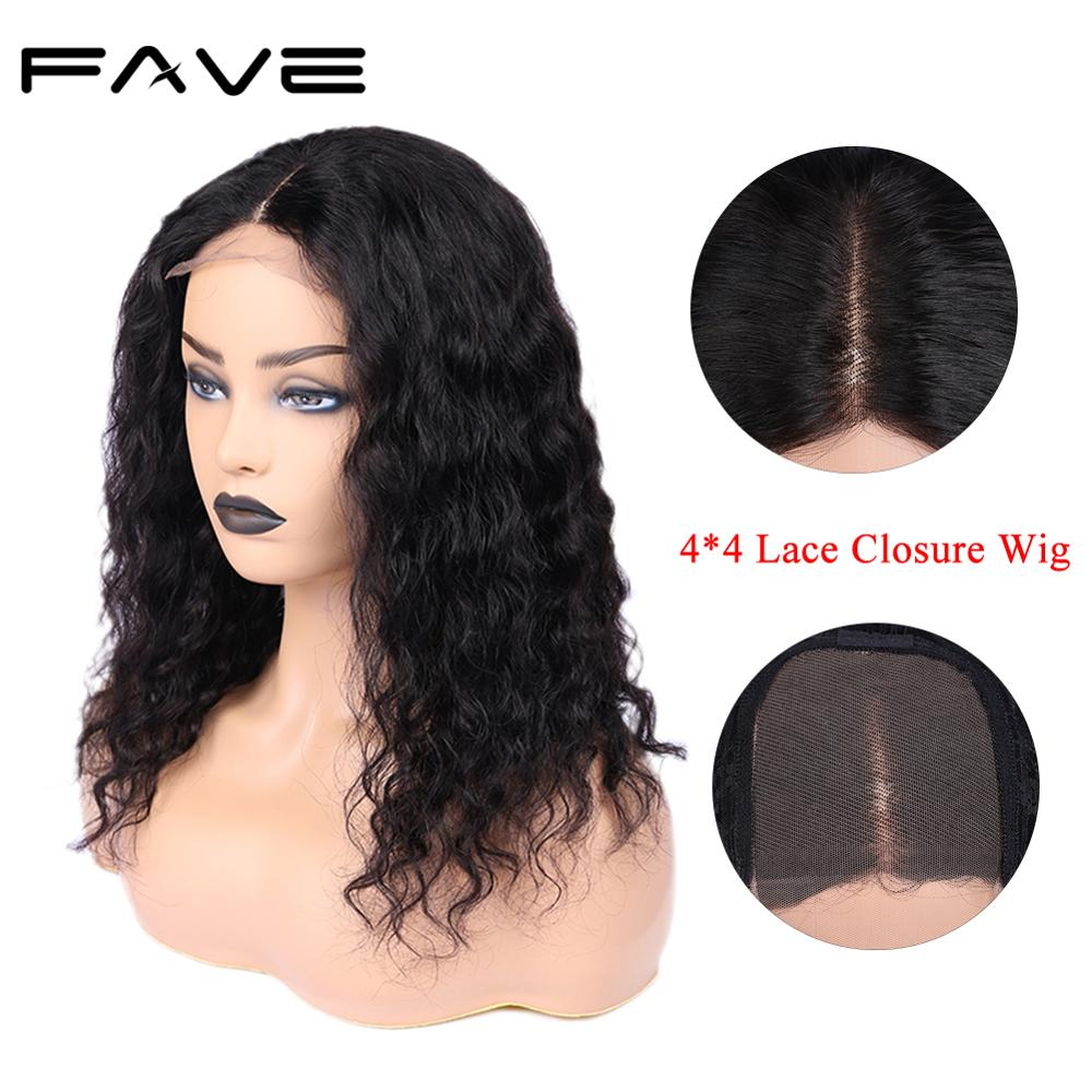 4*4 Water Wave Lace Closure Wigs Brazilian Remy Free Part High Density Lace Human Hair Wigs For Black Women Glueless Fave