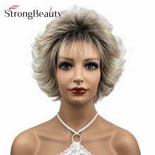 Strongbeauty curto onda do corpo peruca em camadas pixie corte loira/vermelho/preto perucas de cabelo sintético calor ok