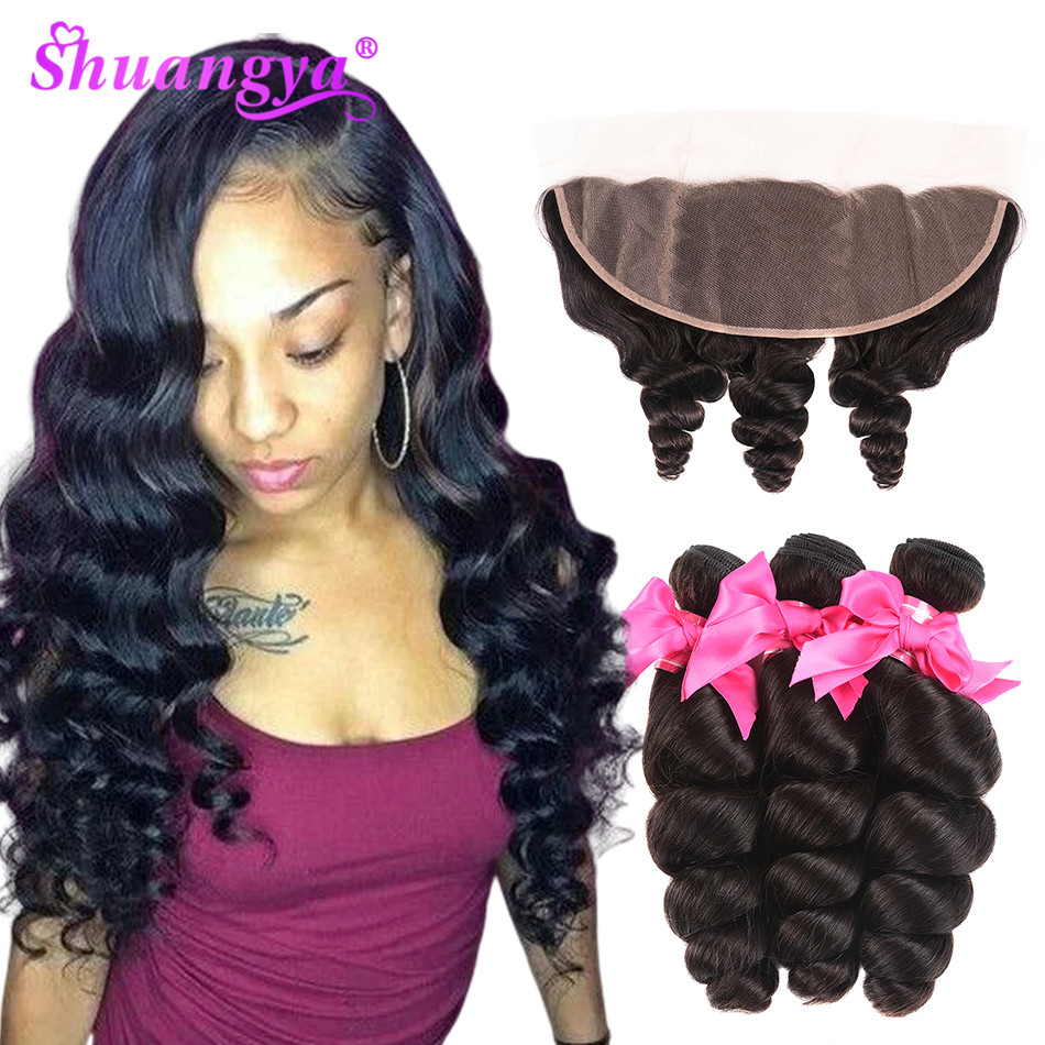 Transparent Lace Frontal With Bundles Peruvian Loose Wave Bundles With Frontal Remy Hair With Closure  Shuangya Hair Bundles