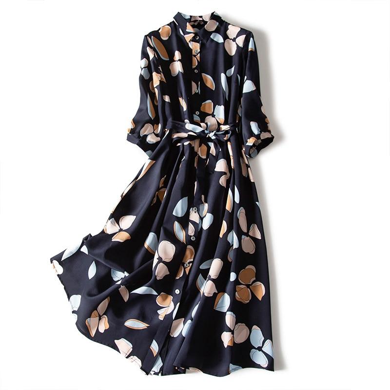 Summer Spring Vintage 100% Real Silk Dress Women Clothes 2020 Korean Print Long Belt Dresses Elegant Ladies Office Vestidos 0869