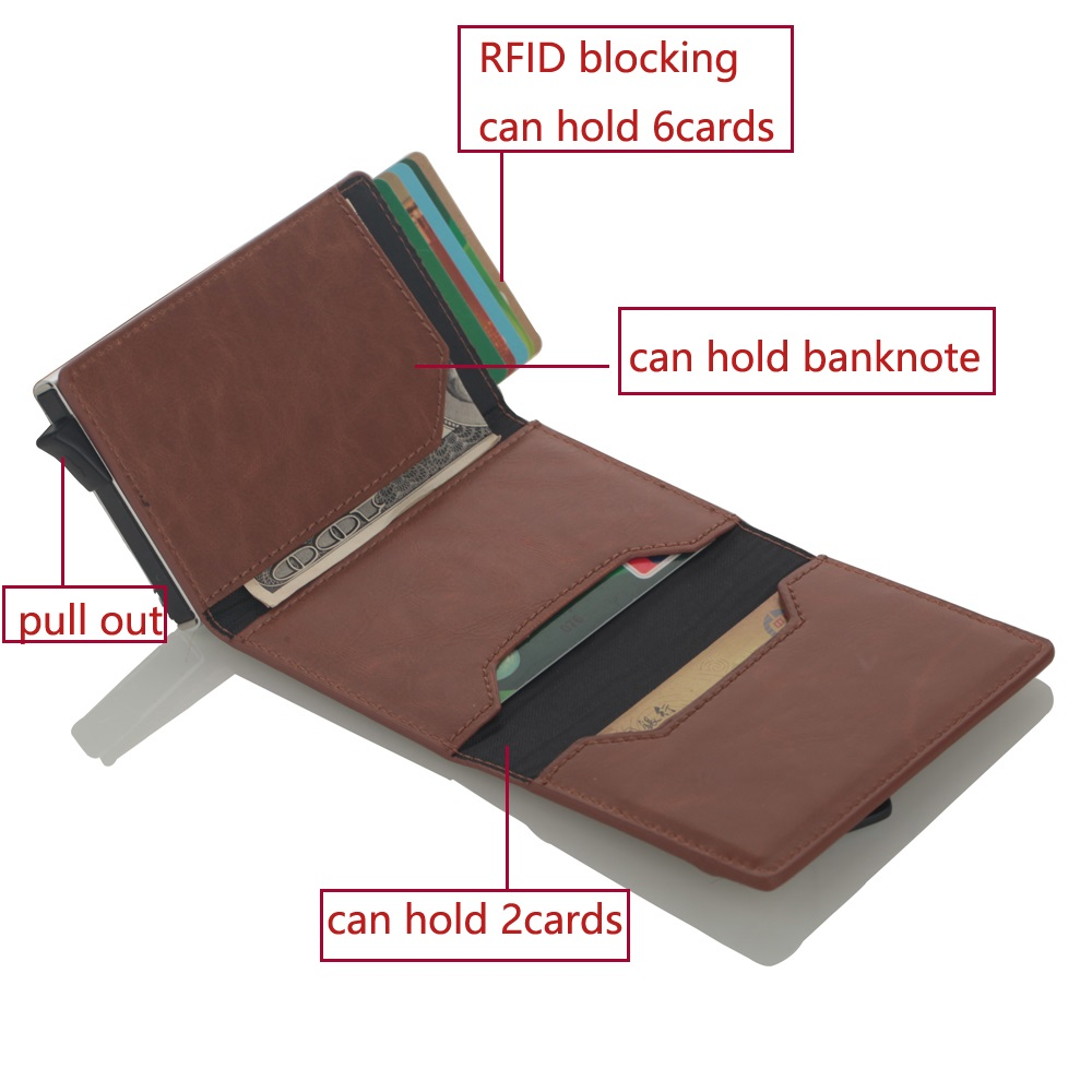 Image 5 - Cizicoco Credit Card Holder 2020 New Aluminum Box Card Wallet RFID PU Leather Pop Up Card Case Magnet Carbon Fiber Coin PurseCard & ID Holders   -
