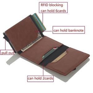 Image 5 - Cizicoco tarjetero de aluminio con caja de aluminio, billetera RFID de cuero PU, billetera Pop Up con imán de fibra de carbono, 2020