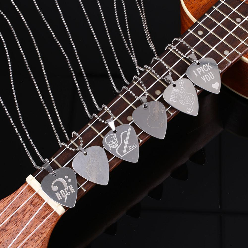 Jewelry Band Series Popular Band Bon Jovi Green Day Necklace Letter Logo Stainless Steel Plectrum Shape Pendant Necklace