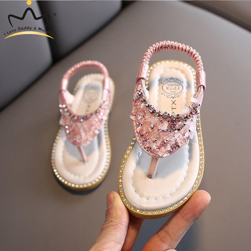 Summer Rhinestones Girls Sandals Leather Sequins Glitter Infant Toddler Baby Girls Shoes Kids Children Sandals Baby Girl Sandals