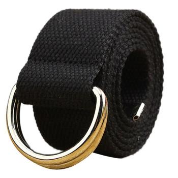 Pasek płócienny dla kobiet sukienki Plus rozmiar czarne pasy dla kobiet złota klamra pas taktyczny podwójna pętla studenci pas tanie i dobre opinie Na co dzień Adult PŁÓTNO CN (pochodzenie) WOMEN Stałe Belts for women
