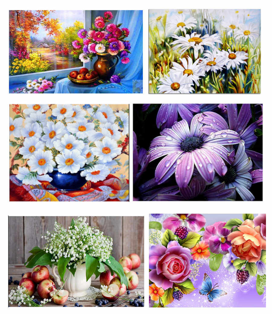 5D DIY Diamond painting Fruits Apple Rose Daisy Raindrops Butterfly  Home Furnishing decoration Cross Stitch Embroidery
