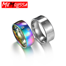 Fashion Cute Dog Cat Paw Rings For Women Men Beautiful Rainbow Anime Pet Footprint Stainless Steel Ring Finger Jewelry Best Gift