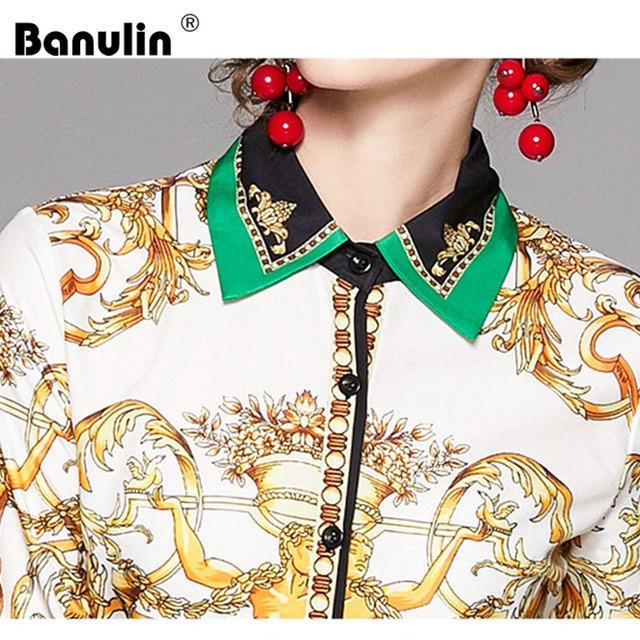 2019 Spring Autumn Design Womans Long-Sleeved Shirt Blouse High Quality Women Printed Office Runway Slim Shirts Tops M-2XL 6