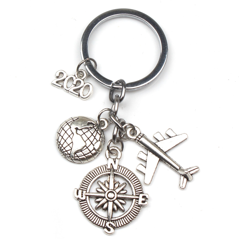 2019 2020 2021 2022 Travel Compass Keychain Earth Plane Pendant Key Ring Stewardess Gift Handmade Traveler Jewelry Key Chain