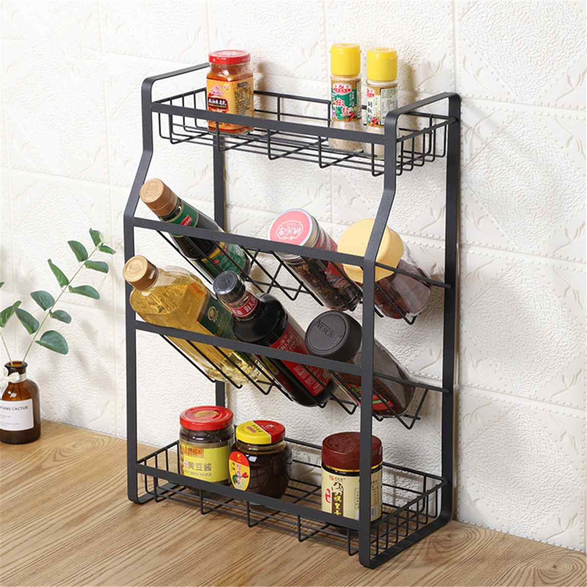 4 Tier Kitchen Spice Storage Rack Seasoning Shelf Oblique Bottom Style Cutlery Standing Holder Jar Organizer Kitchen Accessories