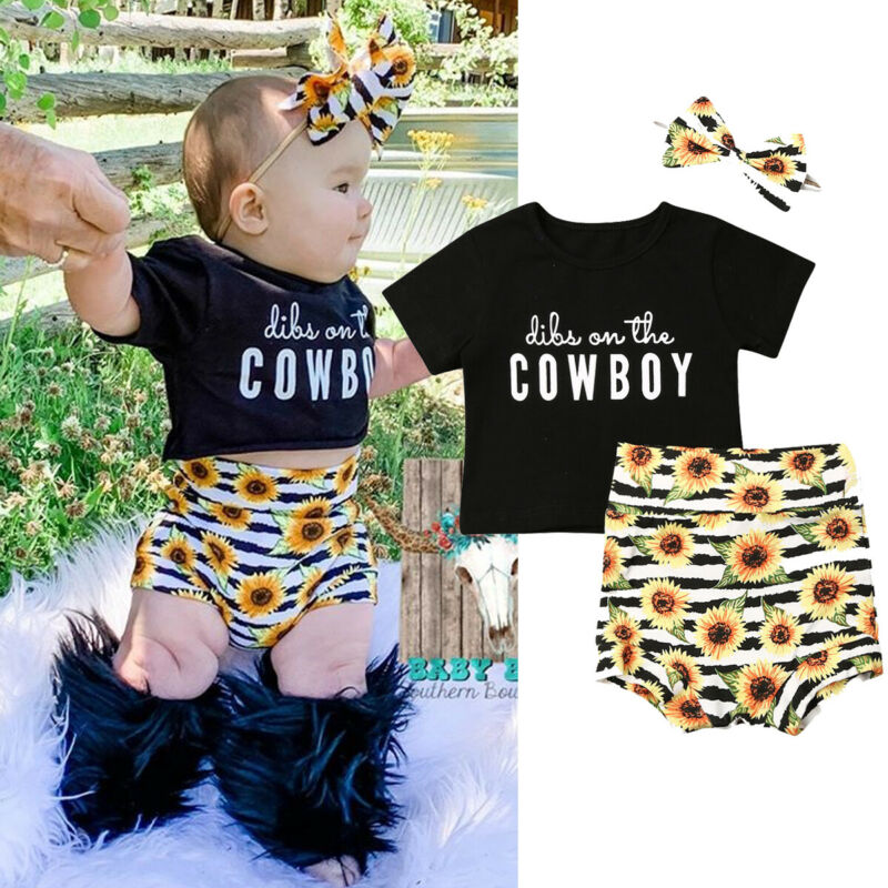 Fashion Newborn Baby Girls Clothes Sets Summer Letter Tops+High Waist Floral Shorts+Headband 3Pcs Baby Girl Cotton Outfits 0-2Y