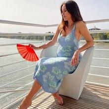 FSDA – robe moulante mi-longue en tricot pour femmes, tenue de plage ajourée, dos nu, bretelles Spaghetti, Vintage, vert, vert, bleu, Y2K, été, 2021