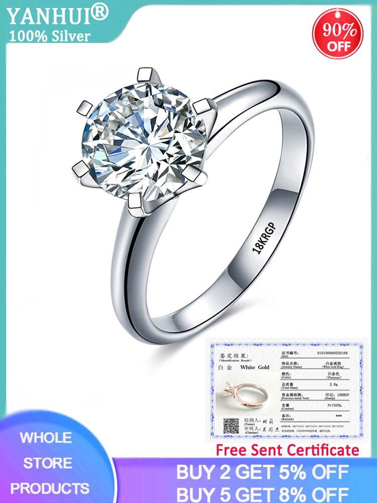 YANHUI Engagement Rings Zircon Solitaire White Gold Certificate Women Pure-18k Luxury