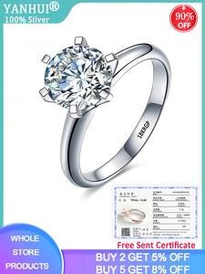 YANHUI Engagement Rings Zircon Solitaire White Gold Certificate Luxury Original Wedding