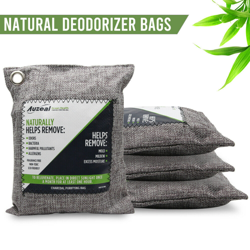 4 Packs Air Purifying Bags Nature Fresh Charcoal Bamboo Air Purifying Bag Mold Purifier Charcoal non-woven Fabric for Home Car
