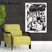 1 piezas de gran tamaño Vintage Vector Monaco carrera Poster decoración moderna del hogar HD lienzo pinturas al óleo para cuadros para la pared del salón
