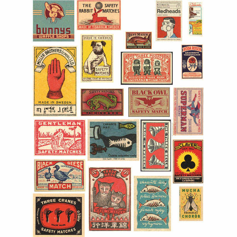 Vintage Print Stickers or Scrapbooking for Journaling Planners