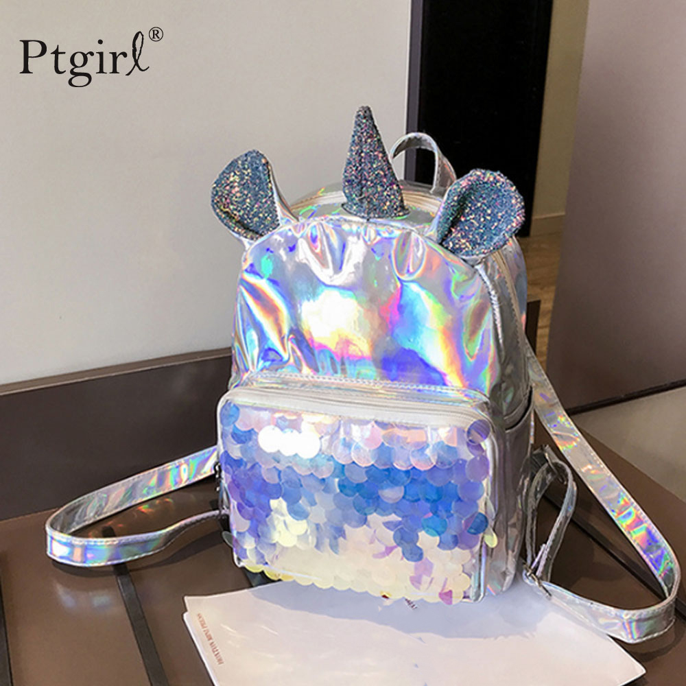 New 2019 Cute Laser Leather Mini Backpack For Women Sequins Unicorn Mochila Girls Travel Back Bags Silver Fashion School Bagpack