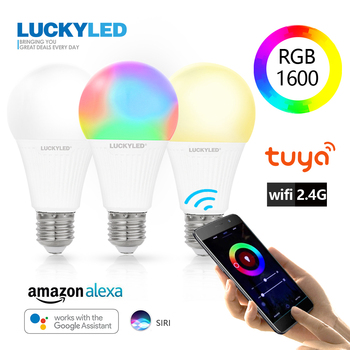цена на LUCKYLED 7W 9W Smart Light Bulb WiFi APP Control Led Lamp E27 Bombillas Dimmable Led Bulb 220v 240v 110V RGB + W+WW RGB lampada