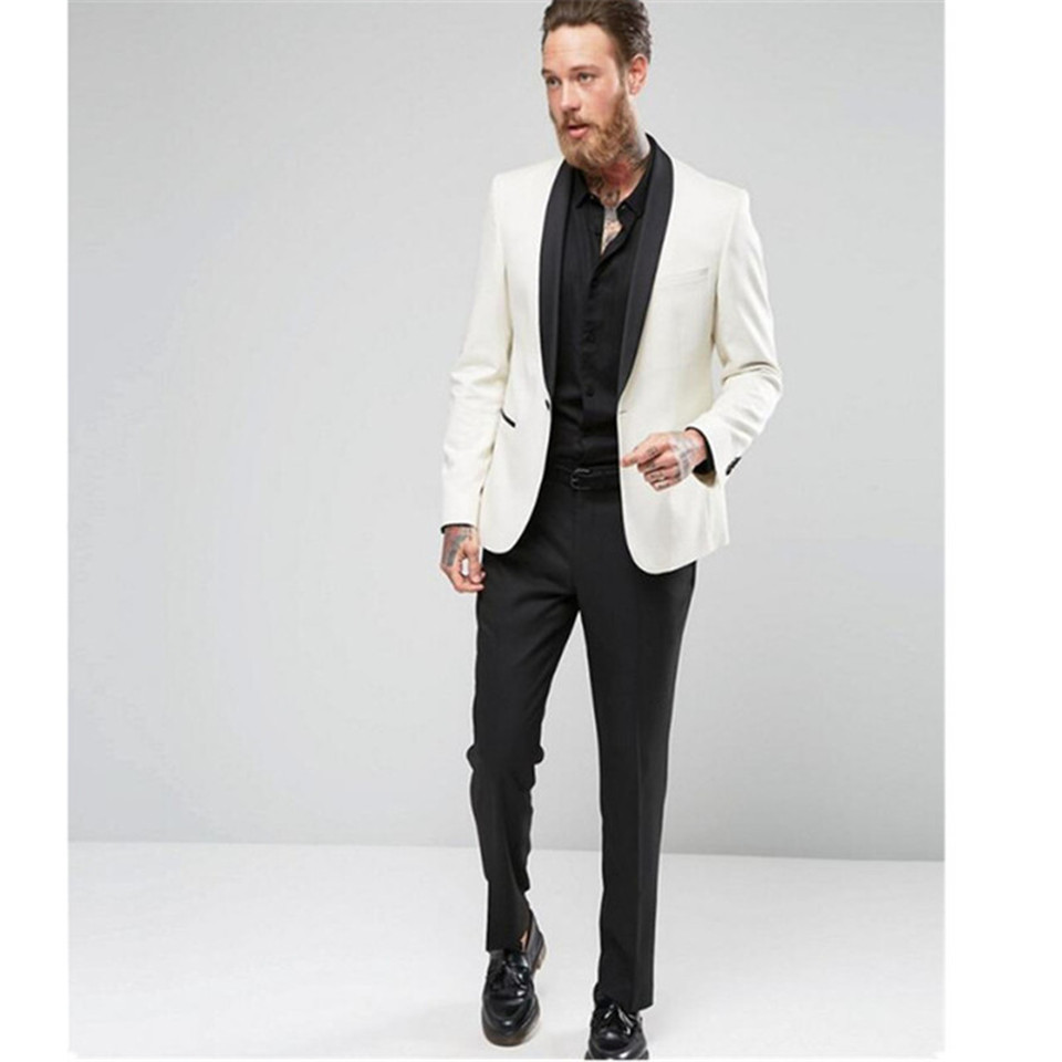 New Men's Suit Smolking Noivo Terno Slim Fit Easculino Evening Suits For Men White Groom Tuxedos Party Formal Party Business Jac