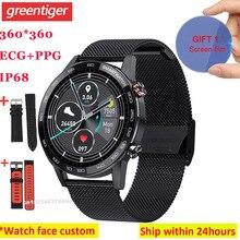 2020 L16 inteligentny zegarek mężczyźni ekg PPG Smartwatch IP68 Bluetooth muzyka kontrola ciśnienia krwi tętno Fitness bransoletka VS L13 L8