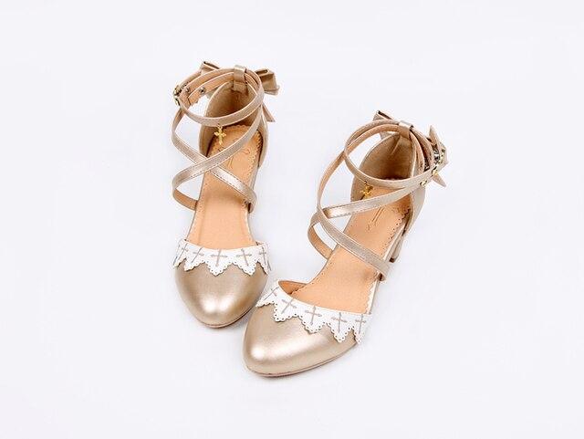 Фото летние аниме косплей туфли лолиты вышивка крест бант обувь kawaii