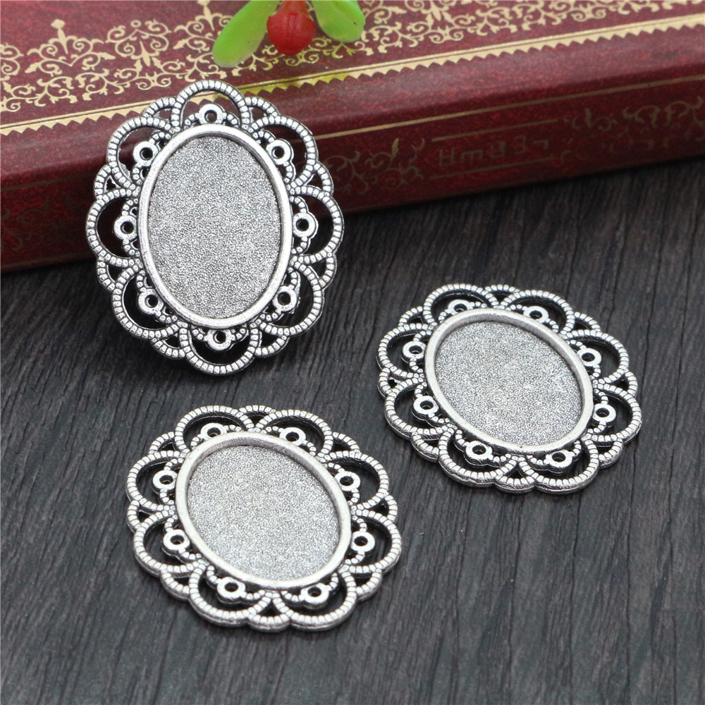 8pcs 13x18mm Inner Size Antique Silver Plated Simple Style Cameo Cabochon Base Setting Charms Pendant Necklace Findings  (D4-23)