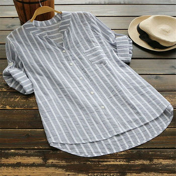 Women New Summer Striped V-Neck Blouses Loose Baggy Shirts and blouses Cotton and Linen Button Padding Tunic Blouses Plus Size 5