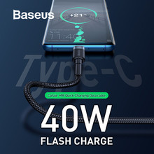 Baseus 40W USB Type C Cable Flash Charge Wire 5A Quick Charging for Huawei P30 Mate 20 Pro Xiaomi Data Cable USB Charger Cord(China)
