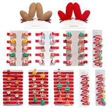 10/PCS/Set Cartoon Christmas Hair Clips Girl Cute Gifts Set Barrettes Hair Ornament Headband Children Hairpins Hair Accessor