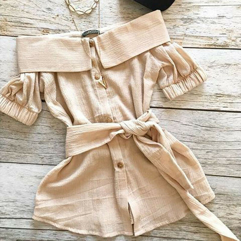 Toddler Baby Girl Off Shoulder Turn Down Collar Single Breasted Shirt Dress Outfits Casual Solid Long Shirts