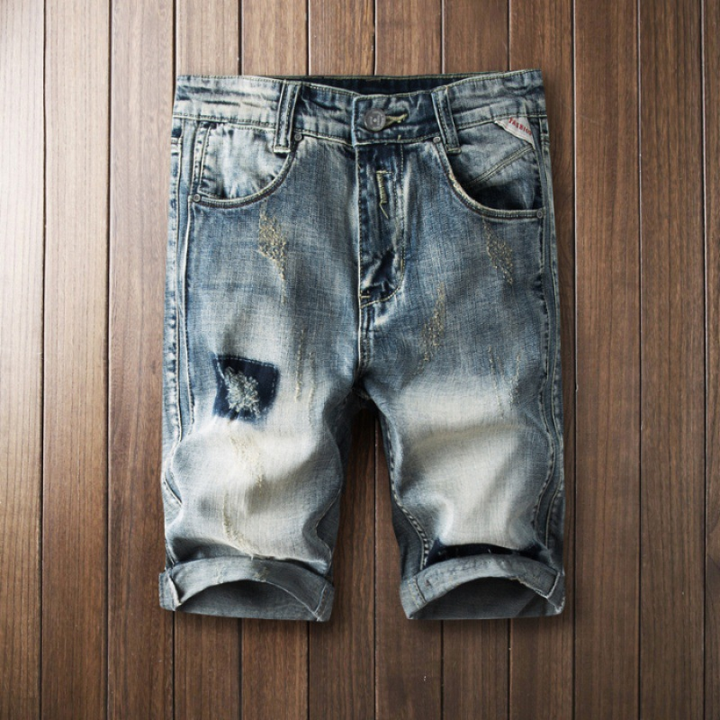Summer Ancient With Holes Denim Shorts Men's Popular Brand Loose-Fit Shorts Straight Slim [QQ Group: 58411717