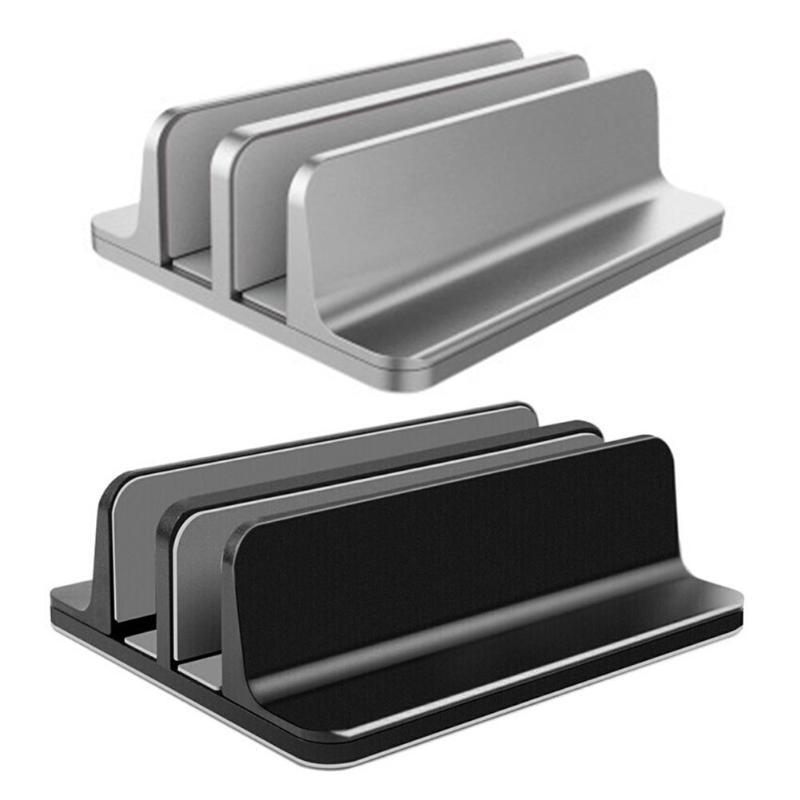 Adjustable Vertical Laptop Stand Bookshelf  2 Slots 1 Slot Aluminum Alloy Bracket Dual Notebook PC Desk Holder Support